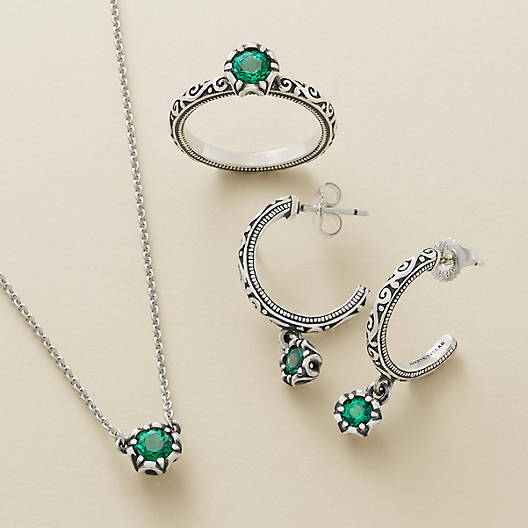 View Larger Image of Cherished Birthstone Hoop Ear Posts with Lab Created Emerald