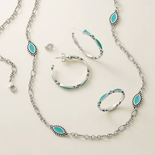 View Larger Image of Enamel Teal Cordoba Necklace