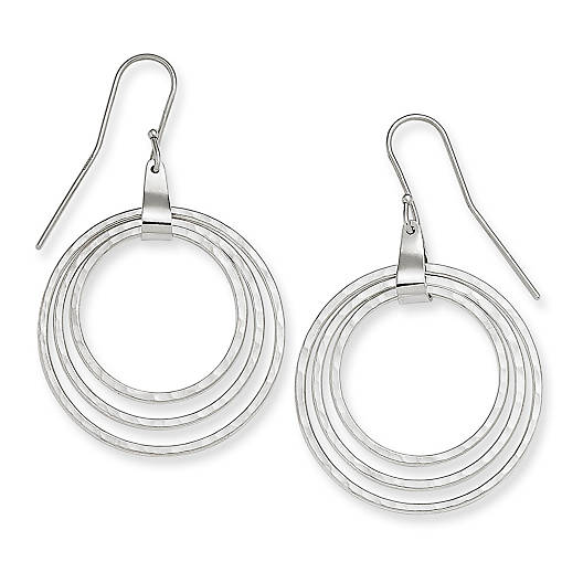 View Larger Image of 3 Hammered Circles Ear Hooks