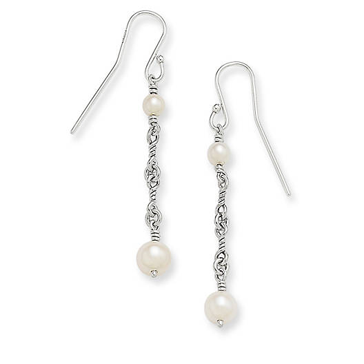 View Larger Image of Twisted Link Cultured Pearl Drop Ear Hooks