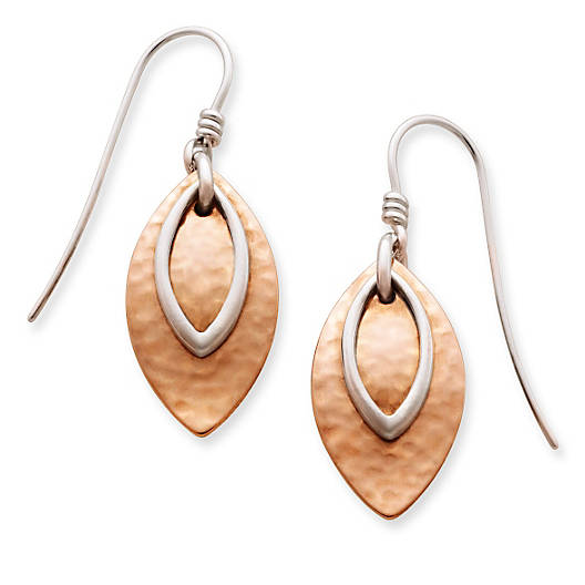 View Larger Image of Hammered Copper & Silver Ear Hooks