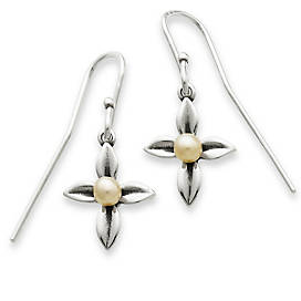 Leaf Cross with Cultured Pearl Ear Hooks in Sterling Silver