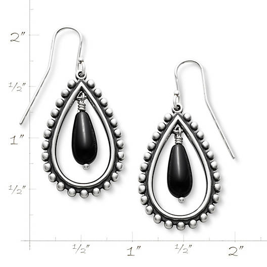 View Larger Image of Beaded Teardrop with Onyx Ear Hooks