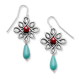 Radiant Loops Ear Hooks with Red Art Glass & Turquoise