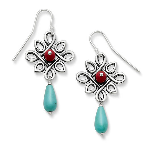 View Larger Image of Radiant Loops Ear Hooks with Red Art Glass & Turquoise