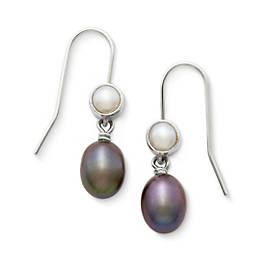 Multicolored Cultured Pearl Ear Hooks