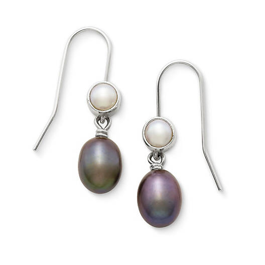 View Larger Image of Multicolored Cultured Pearl Ear Hooks