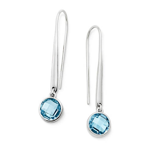 View Larger Image of Avery Isabella Ear Hooks with Blue Topaz