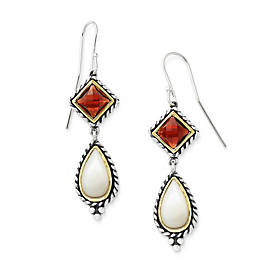Alessandra Mother of Pearl and Garnet Ear Hooks