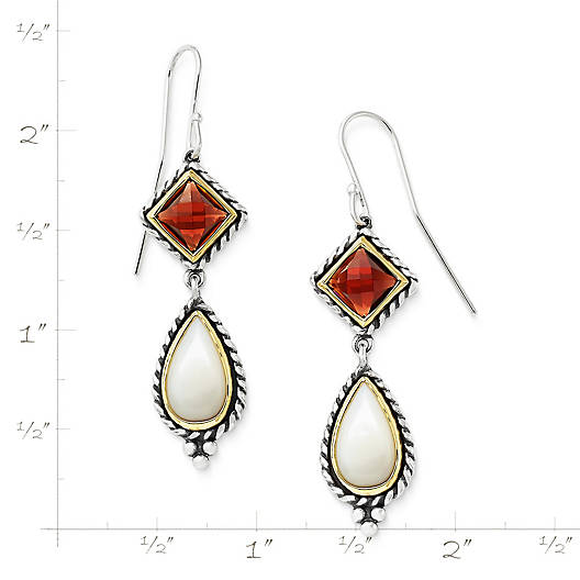 View Larger Image of Alessandra Mother of Pearl and Garnet Ear Hooks