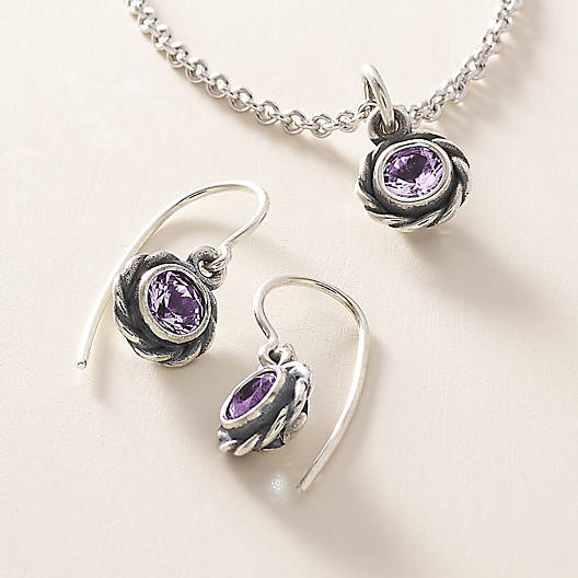 View Larger Image of Elisa Ear Hooks with Amethyst