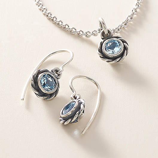 View Larger Image of Elisa Ear Hooks with Blue Topaz