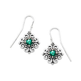Scrolled Ear Hooks with Lab-Created Emerald
