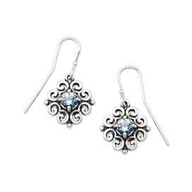 Scrolled Ear Hooks with Blue Topaz