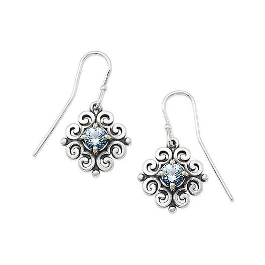 View Larger Image of Scrolled Ear Hooks with Blue Topaz