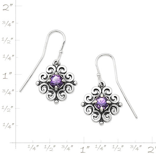 View Larger Image of Scrolled Ear Hooks with Amethyst
