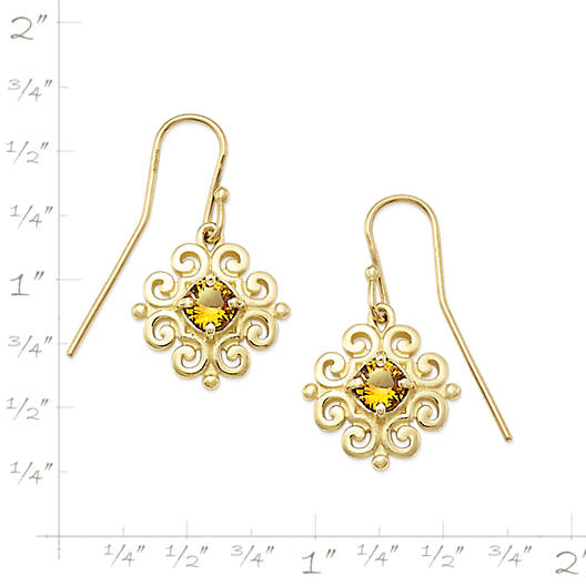 View Larger Image of Scrolled Ear Hooks with Citrine
