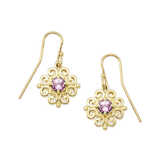 View Larger Image of Scrolled Ear Hooks with Lab-Created Pink Sapphire