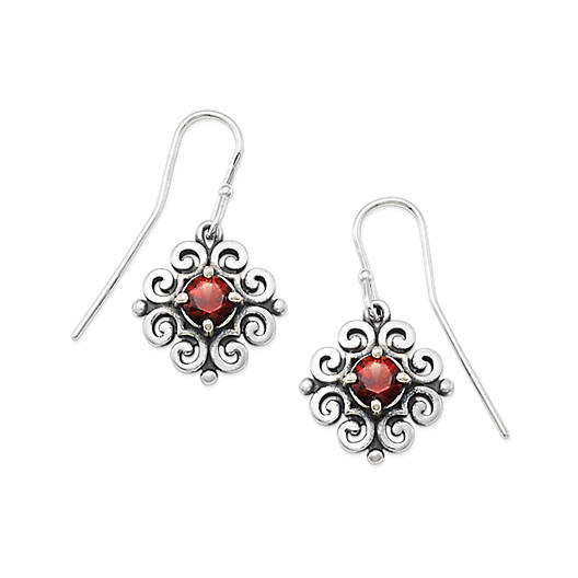 View Larger Image of Scrolled Ear Hooks with Garnet