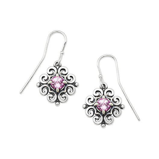 Scrolled Ear Hooks with Lab-Created Pink Sapphire