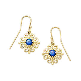 Scrolled Ear Hooks with Lab-Created Blue Sapphire