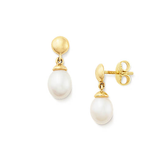 View Larger Image of Teardrop Ear Posts with Cultured Pearl