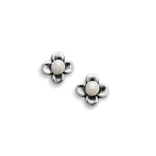Tiny Blossom Ear Posts with Cultured Pearl