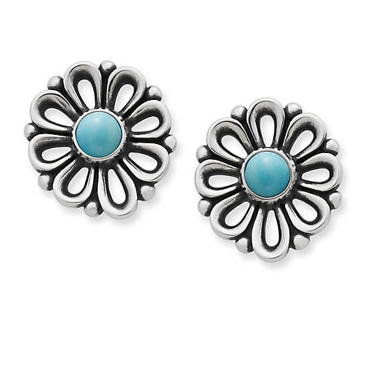 View Larger Image of De Flores Ear Posts with Turquoise