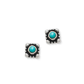 Beaded Itty Bitty Turquoise Ear Posts