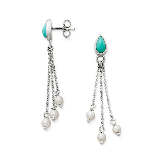 View Larger Image of Santorini Ear Posts with Turquoise & Cultured Pearl