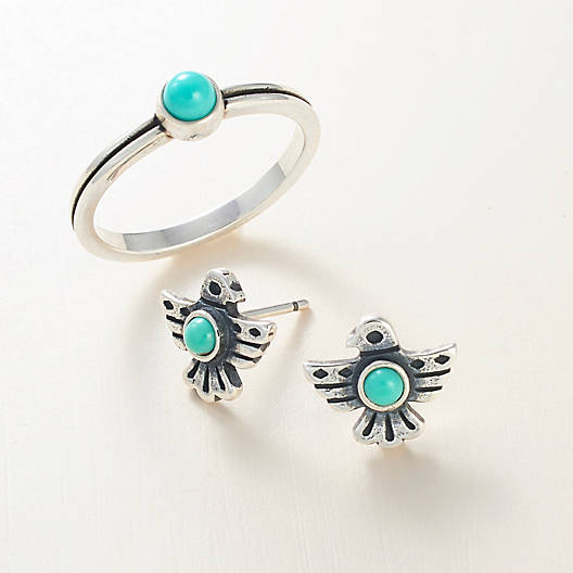 View Larger Image of Southwest Songbird Ear Posts with Turquoise