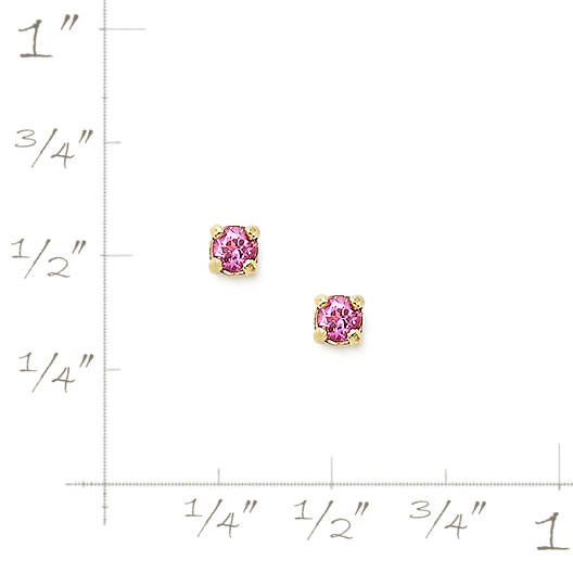 View Larger Image of Petite Ear Posts with Lab-Created Pink Sapphire
