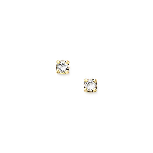 View Larger Image of Petite Ear Posts with Lab-Created White Sapphire