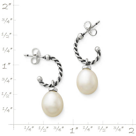 View Larger Image of Twisted Wire Ear Posts with Cultured Pearl Drop