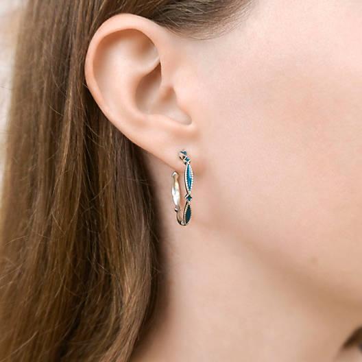 View Larger Image of Enamel Blue Cordoba Hoop Ear Posts