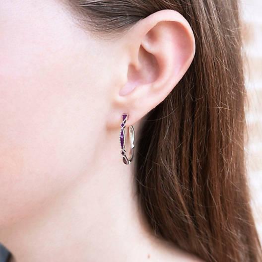 View Larger Image of Enamel Purple Cordoba Hoop Ear Posts