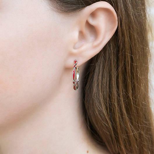 View Larger Image of Enamel Red Cordoba Hoop Ear Posts