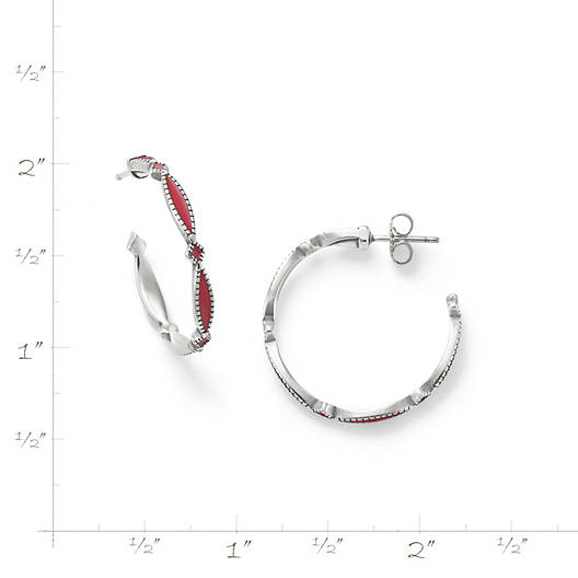 View Larger Image of Enamel Red Cordoba Hoop Ear Posts