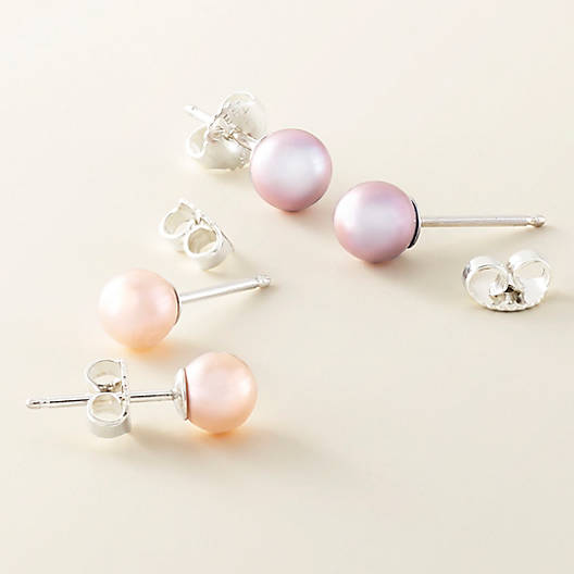 View Larger Image of Peach Cultured Pearl Ear Posts