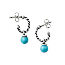 Twisted Wire Ear Posts with Turquoise Bead