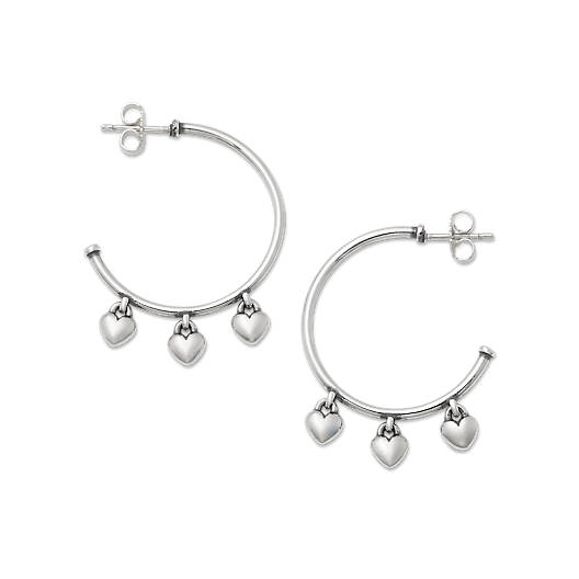 View Larger Image of Heart Drops Hoop Earrings