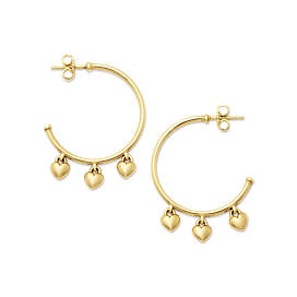 Heart Drops Hoop Earrings