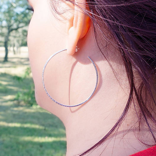 View Larger Image of Classic Hammered Hoop Earrings, Extra Large