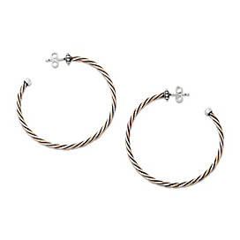 Bronze and Silver Twisted Wire Hoop Ear Posts