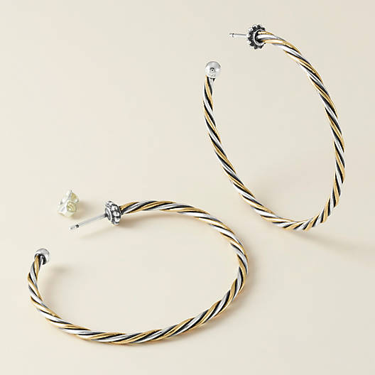 View Larger Image of Bronze and Silver Twisted Wire Hoop Ear Posts