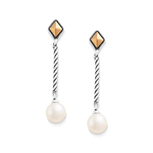 View Larger Image of Marlowe Drop Ear Posts with Cultured Pearl