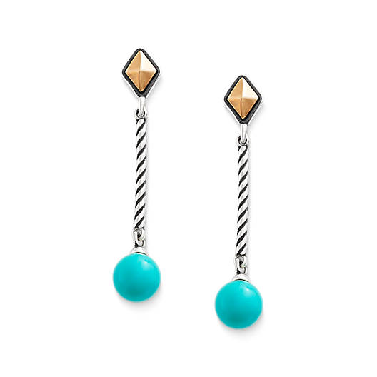 View Larger Image of Marlowe Drop Ear Posts with Turquoise