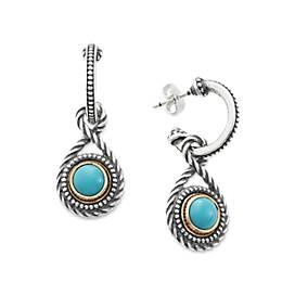 Marjan Hoop Ear Posts with Turquoise