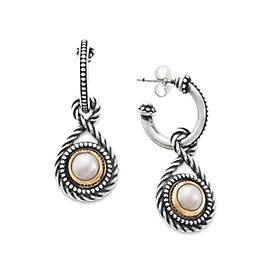 Marjan Hoop Ear Posts-with Cultured Pearl