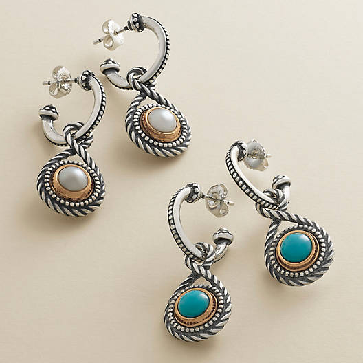 View Larger Image of Marjan Hoop Ear Posts with Turquoise